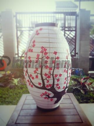 Lampion Gantung Oval Motif Sakura